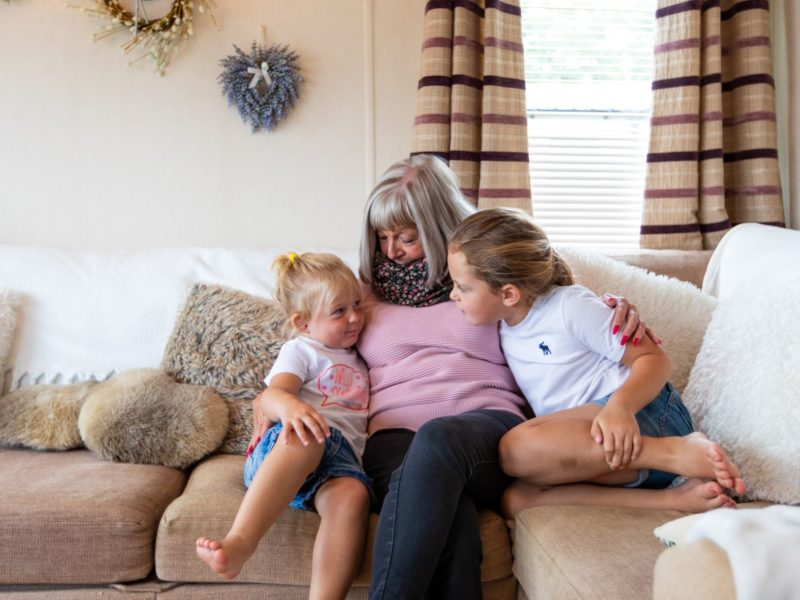 Grandmother and children at caravan park home near Blackpool