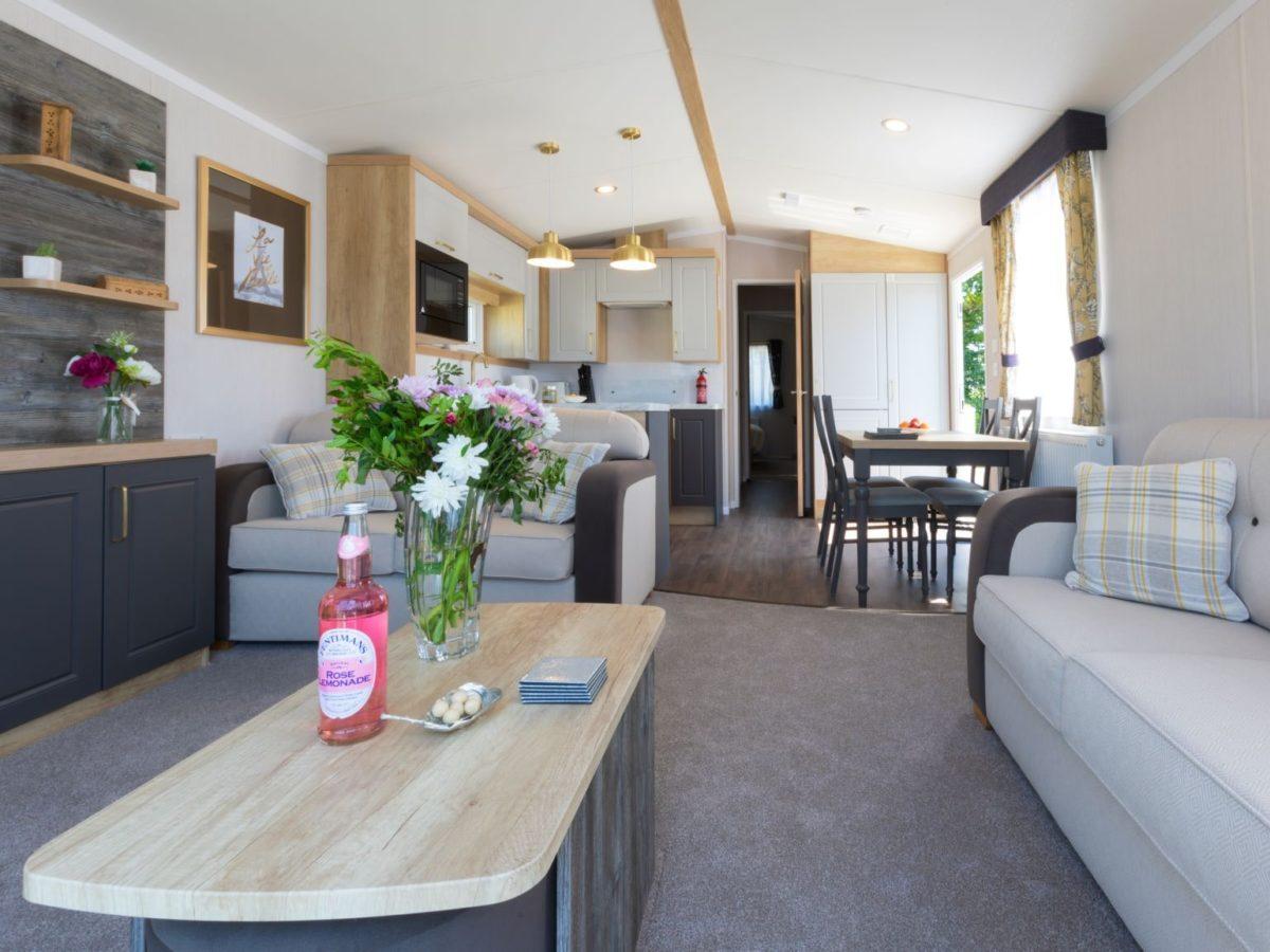 Living room caravan park home Fylde Coast